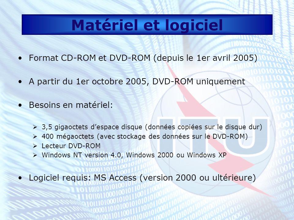 Matériel et logicielFormat CD-ROM et DVD-ROM (depuis le 1er avril 2005) A partir du 1er octobre 2005, DVD-ROM uniquement.