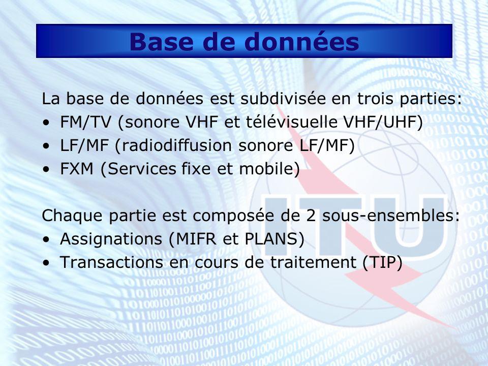 Base de données La base de données est subdivisée en trois parties: