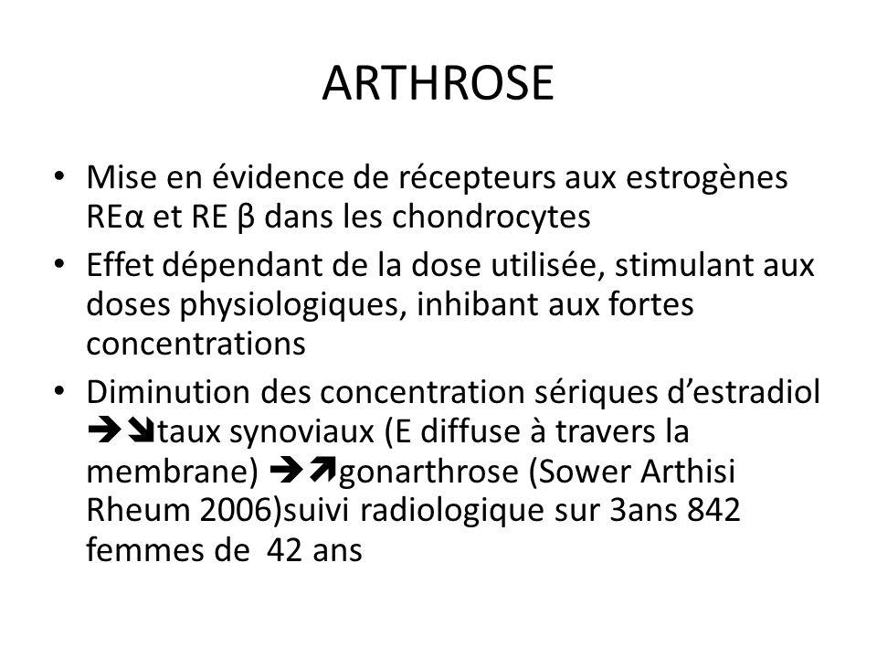 ARTHROSE Mise en évidence de récepteurs aux estrogènes REα et RE β dans les chondrocytes.