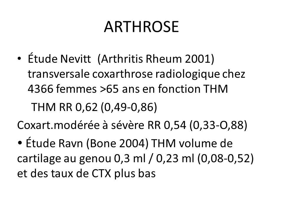 ARTHROSE Étude Nevitt (Arthritis Rheum 2001) transversale coxarthrose radiologique chez 4366 femmes >65 ans en fonction THM.