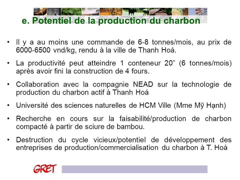 e. Potentiel de la production du charbon