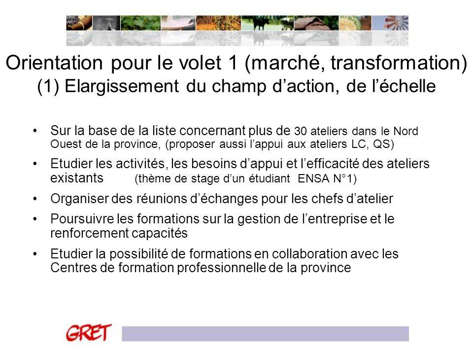 Orientation pour le volet 1 (marché, transformation) (1) Elargissement du champ d'action, de l'échelle