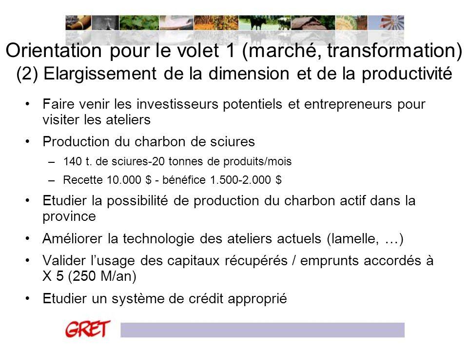 Orientation pour le volet 1 (marché, transformation) (2) Elargissement de la dimension et de la productivité