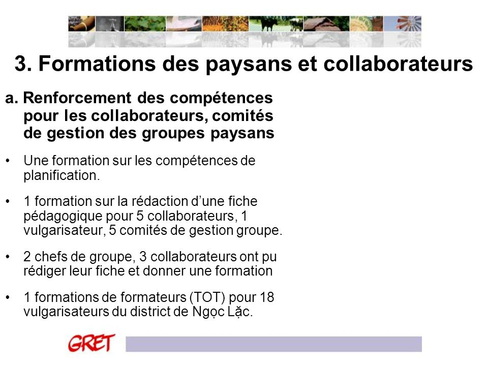3. Formations des paysans et collaborateurs