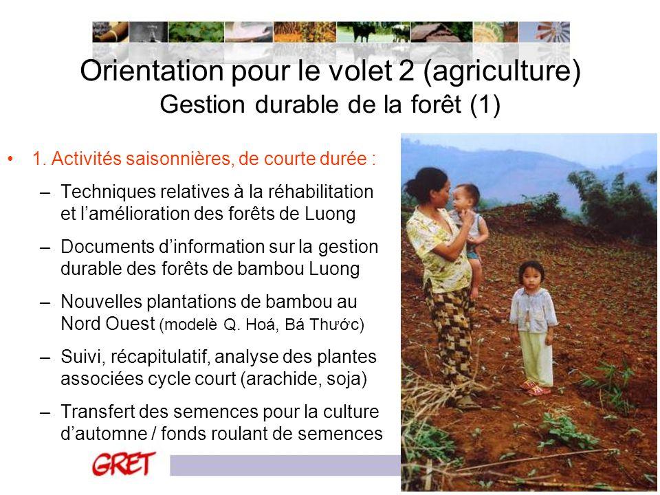 Orientation pour le volet 2 (agriculture) Gestion durable de la forêt (1)