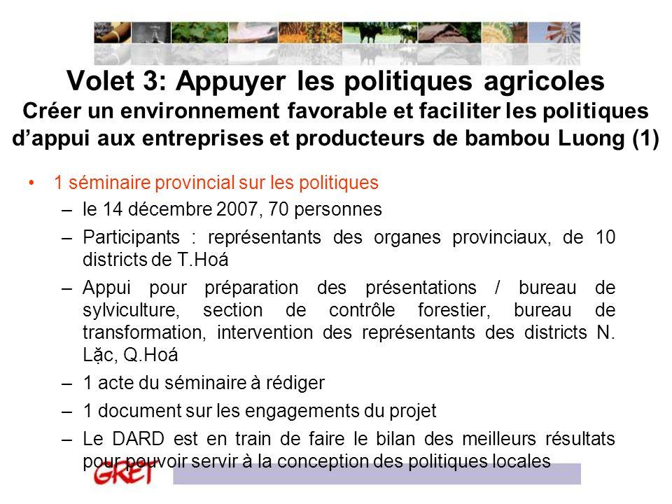 Volet 3: Appuyer les politiques agricoles Créer un environnement favorable et faciliter les politiques d'appui aux entreprises et producteurs de bambou Luong (1)
