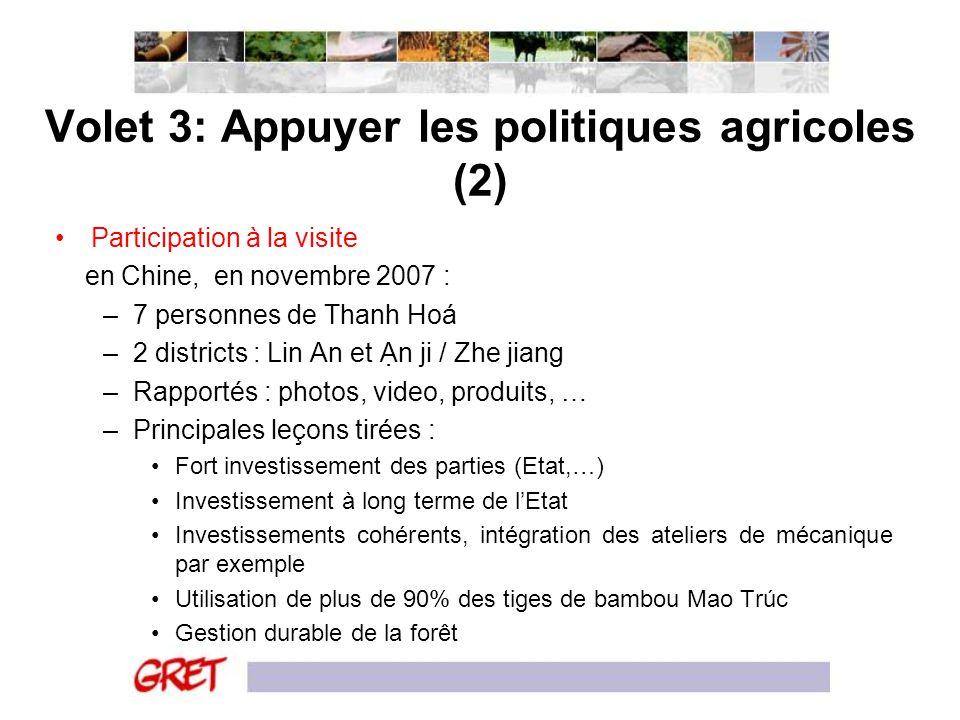 Volet 3: Appuyer les politiques agricoles (2)