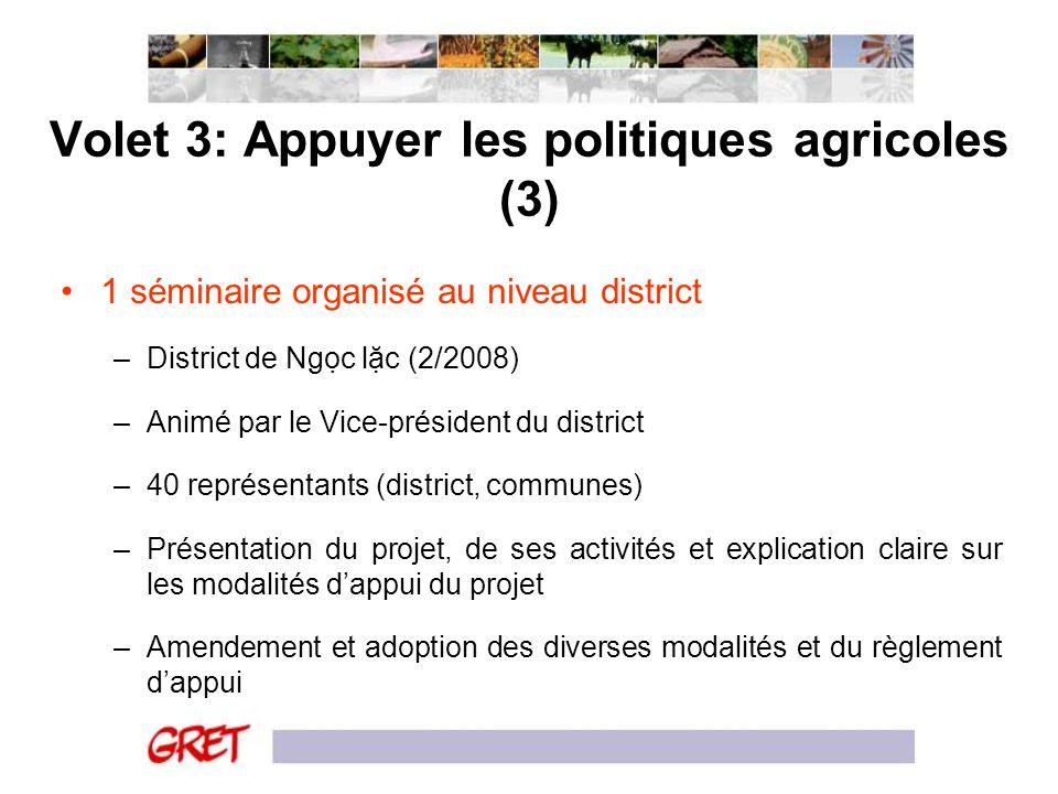 Volet 3: Appuyer les politiques agricoles (3)