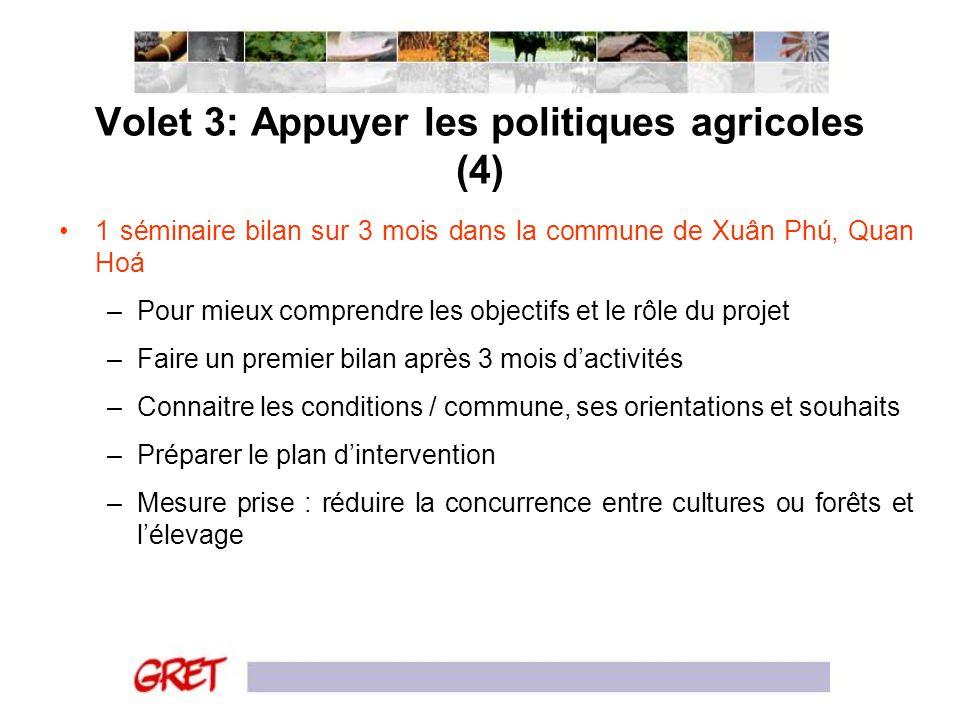 Volet 3: Appuyer les politiques agricoles (4)