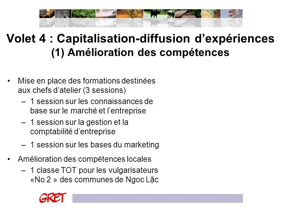 Volet 4 : Capitalisation-diffusion d'expériences (1) Amélioration des compétences