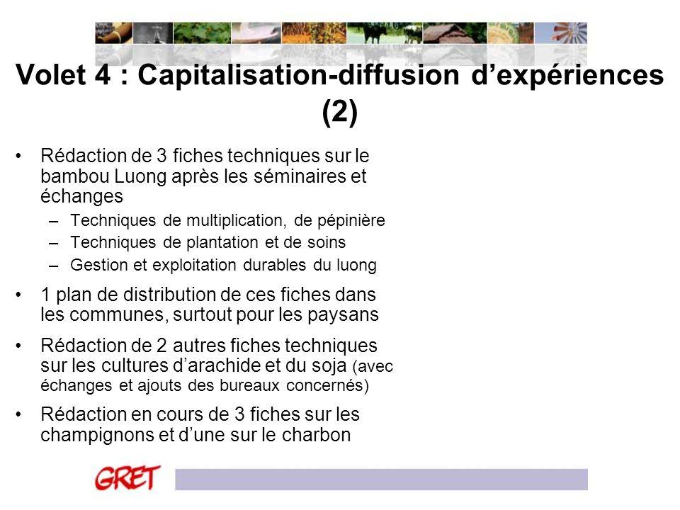 Volet 4 : Capitalisation-diffusion d'expériences (2)
