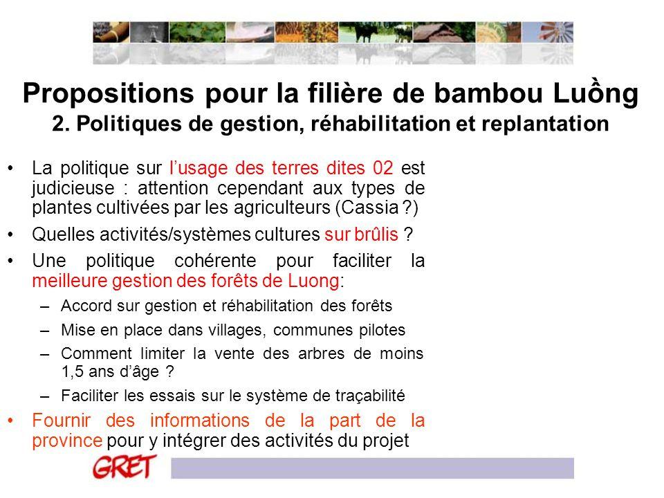 Propositions pour la filière de bambou Luồng 2