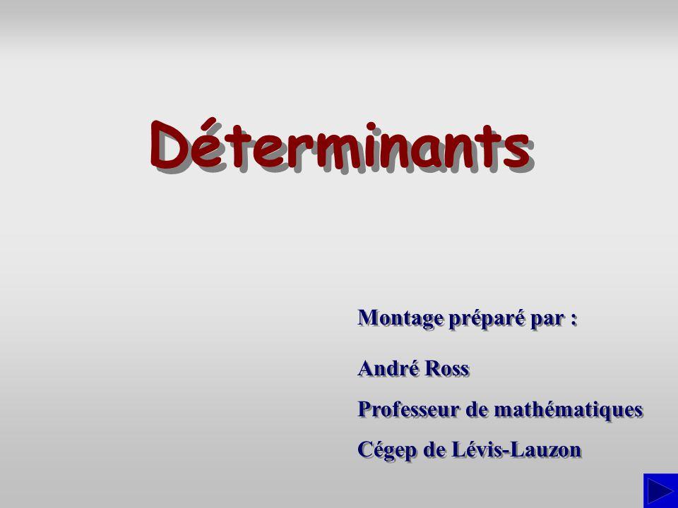 Déterminants Montage préparé par : André Ross