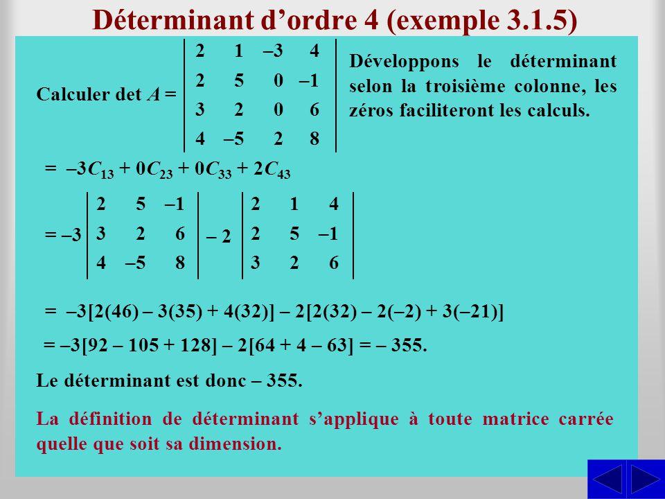 Déterminant d'ordre 4 (exemple 3.1.5)
