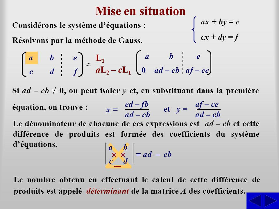Mise en situation L1 ≈ aL2 – cL1 ax + by = e cx + dy = f