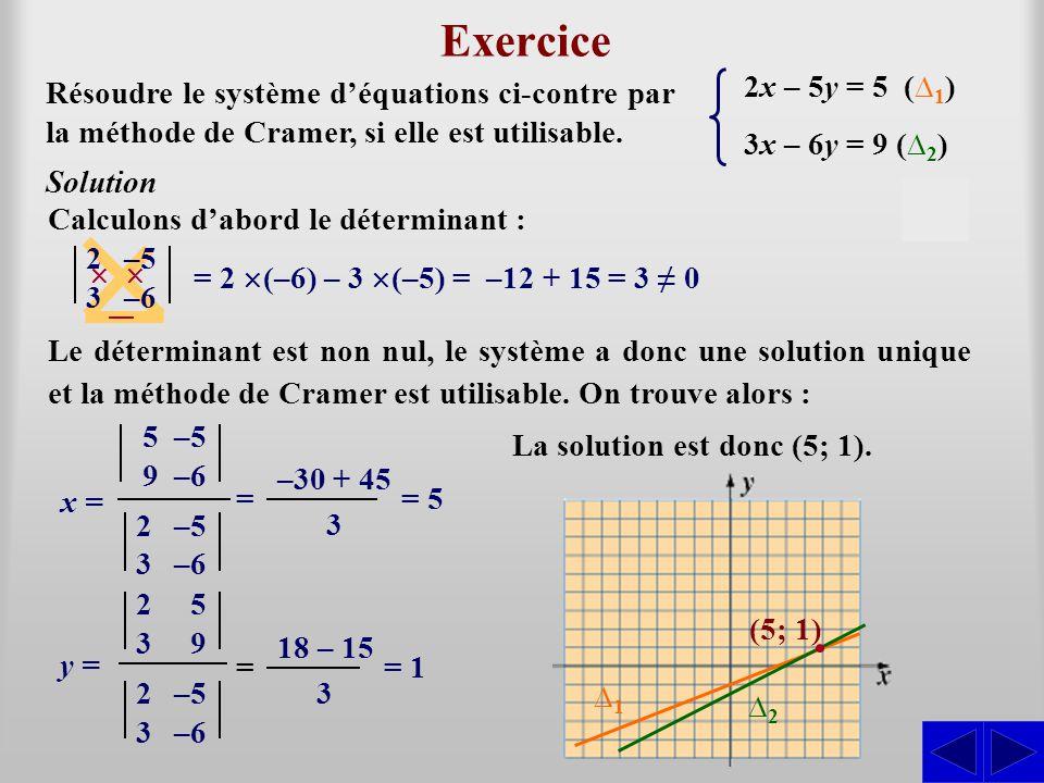 Exercice S 2x – 5y = 5 (∆1) 3x – 6y = 9 (∆2)