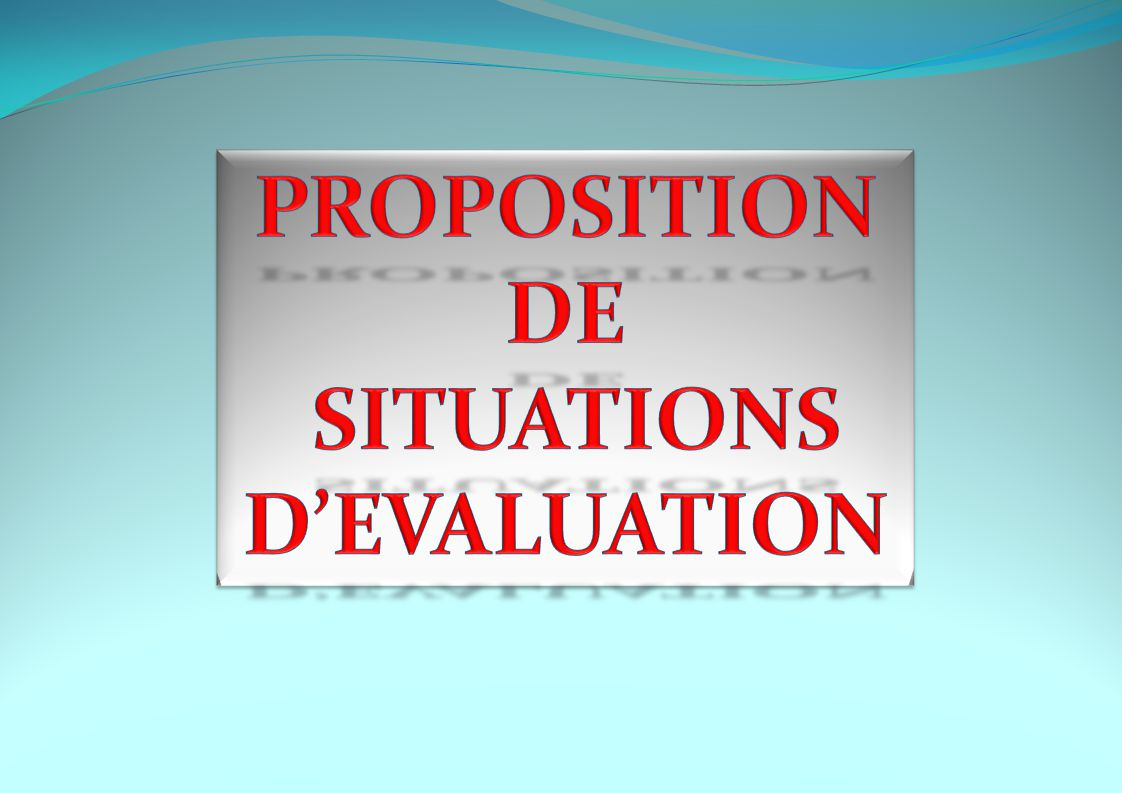 PROPOSITION DE SITUATIONS D'EVALUATION