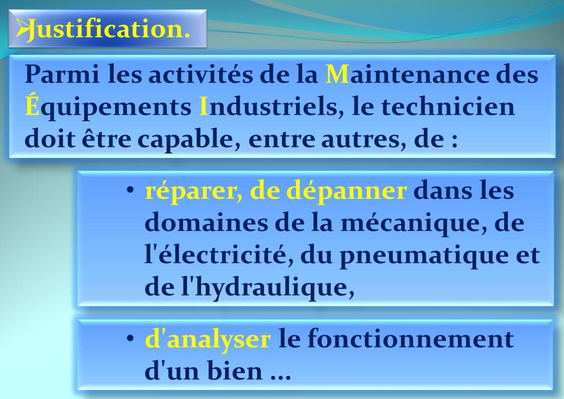 Justification. Parmi les activités de la Maintenance des Équipements Industriels, le technicien doit être capable, entre autres, de :