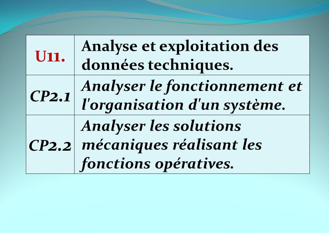 U11. Analyse et exploitation des données techniques. CP2.1. Analyser le fonctionnement et l organisation d un système.