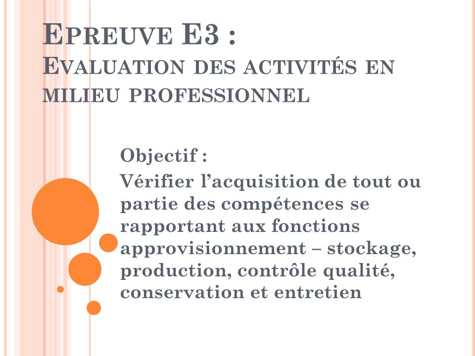 Epreuve E3 : Evaluation des activités en milieu professionnel