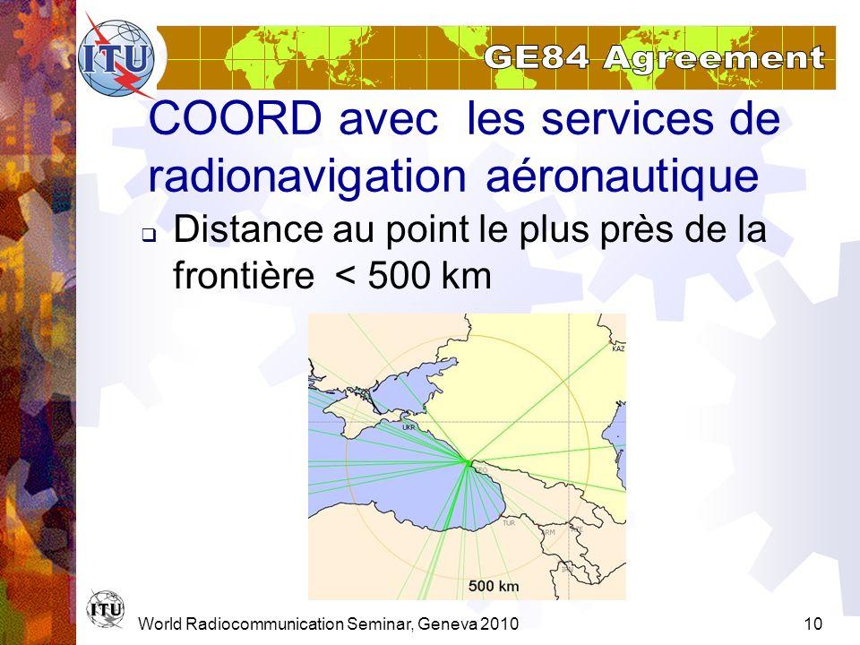 COORD avec les services de radionavigation aéronautique