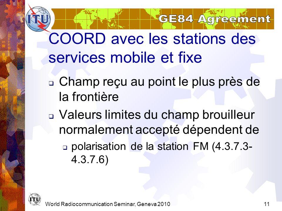 COORD avec les stations des services mobile et fixe