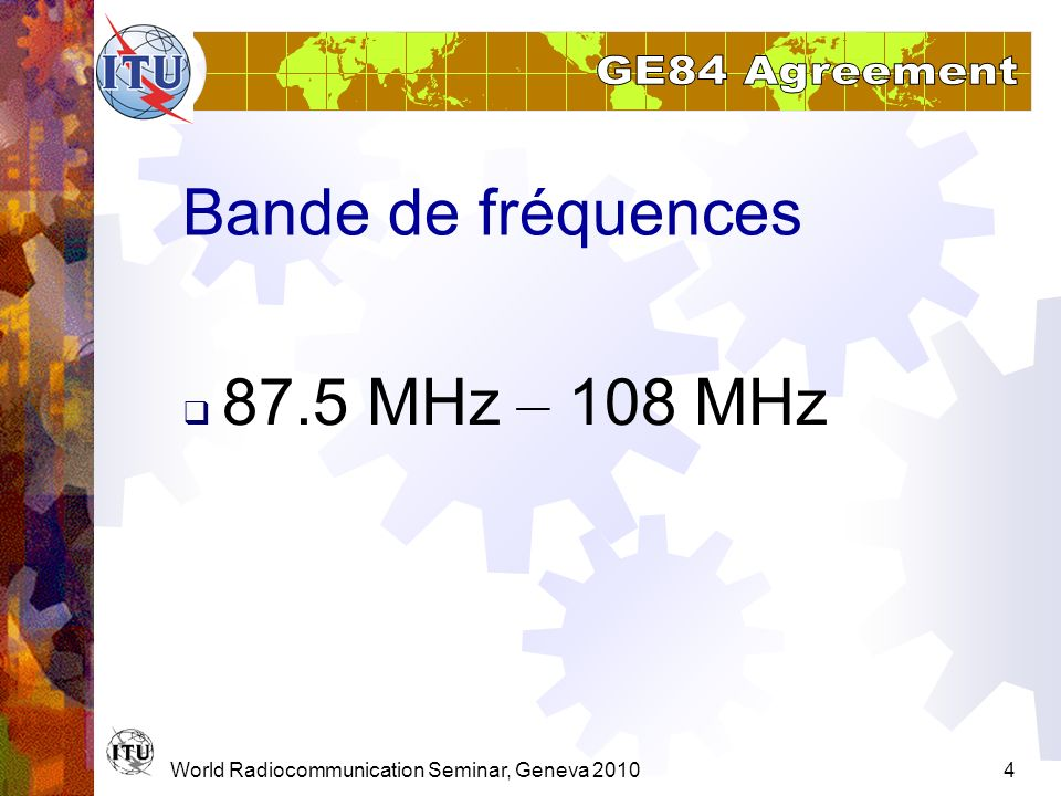 Bande de fréquences 87.5 MHz – 108 MHz