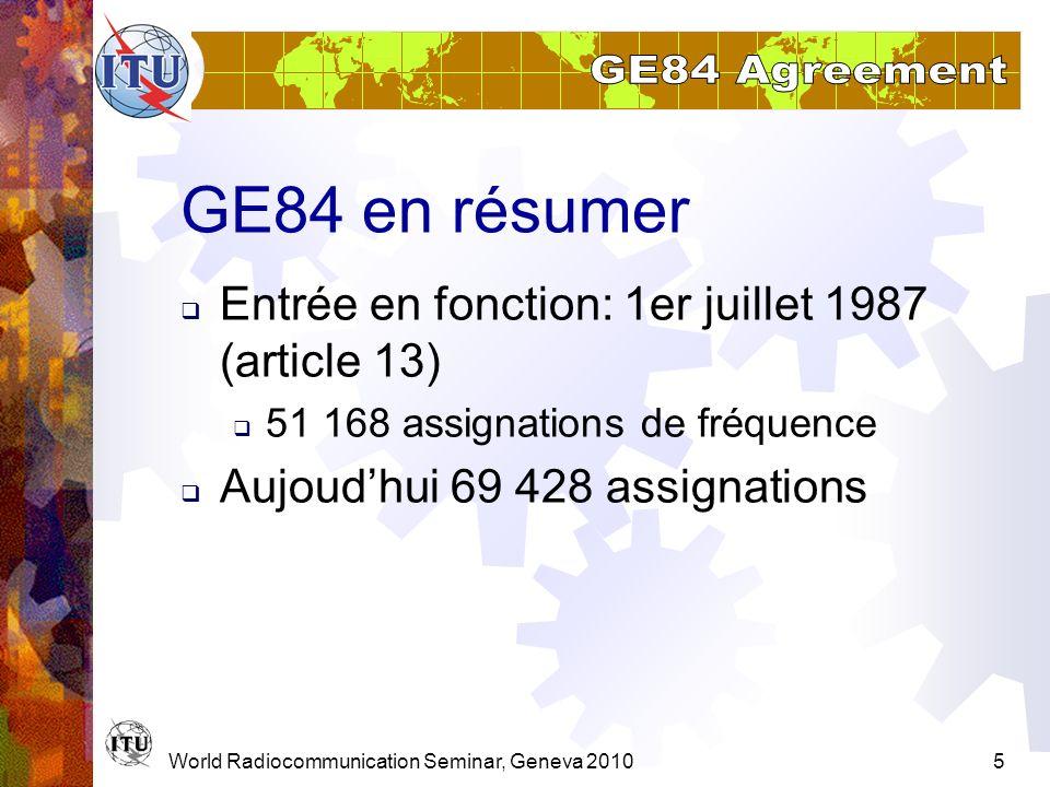 GE84 en résumer Entrée en fonction: 1er juillet 1987 (article 13)