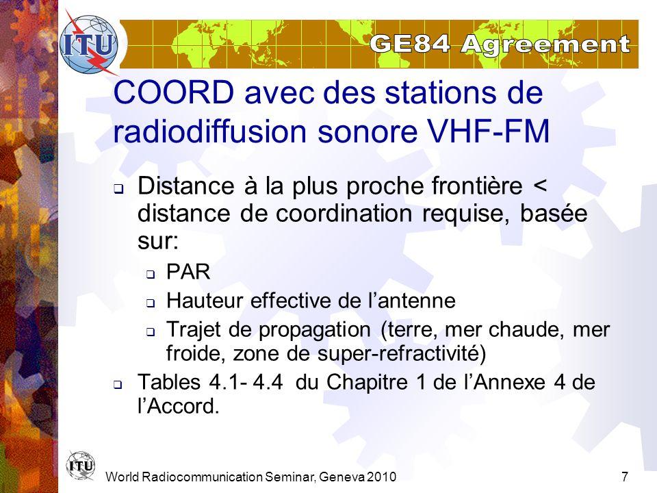 COORD avec des stations de radiodiffusion sonore VHF-FM