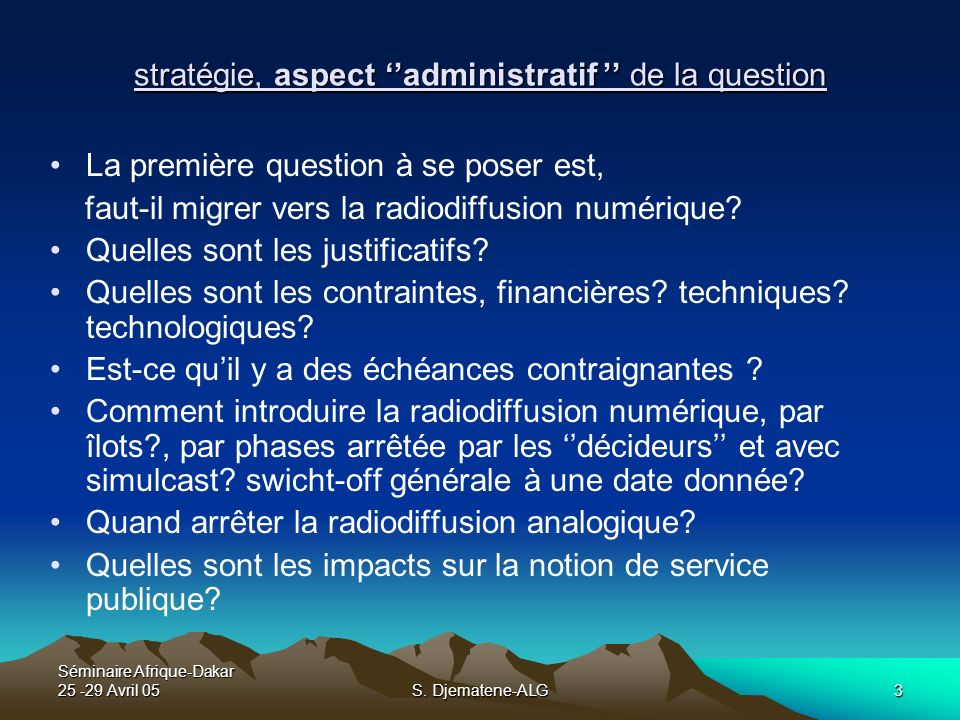 stratégie, aspect ''administratif '' de la question