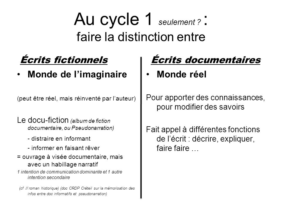 Au cycle 1 seulement : faire la distinction entre