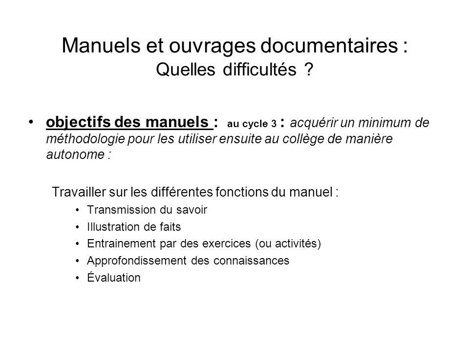 Manuels et ouvrages documentaires : Quelles difficultés