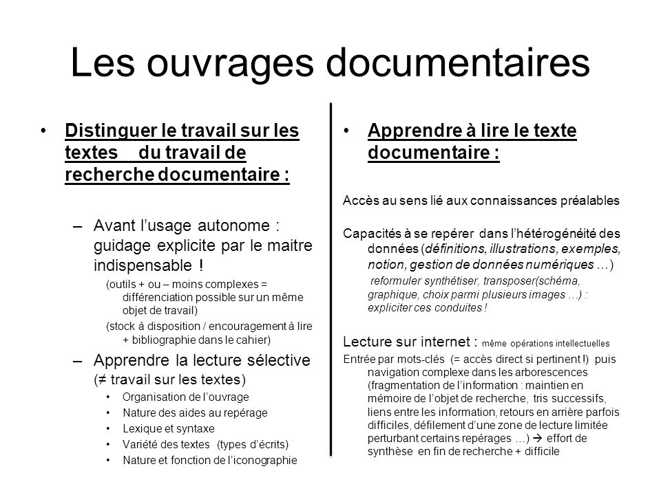 Les ouvrages documentaires