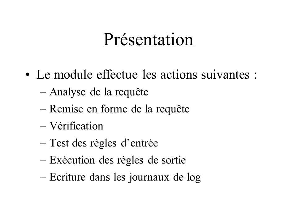 Présentation Le module effectue les actions suivantes :