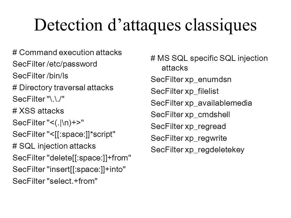 Detection d'attaques classiques
