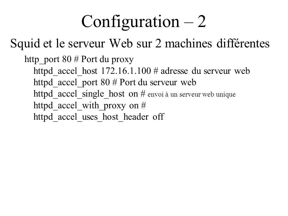 Configuration – 2 Squid et le serveur Web sur 2 machines différentes