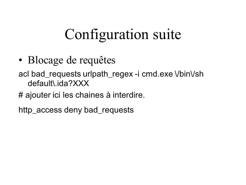 Configuration suite Blocage de requêtes
