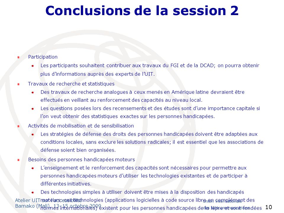 Conclusions de la session 2