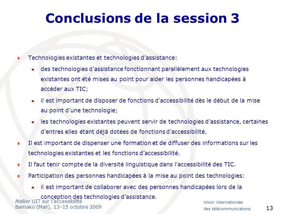 Conclusions de la session 3