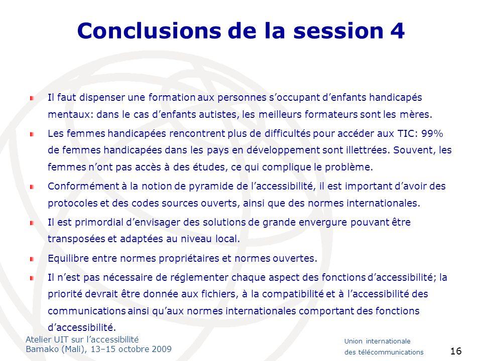 Conclusions de la session 4