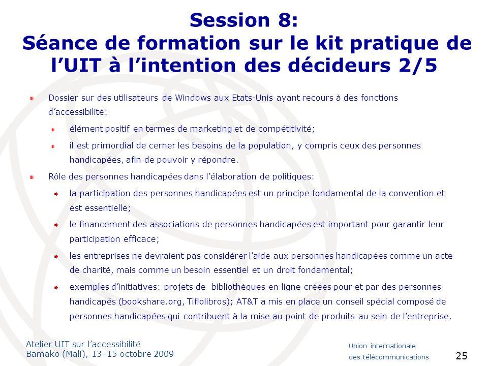 Session 8: Séance de formation sur le kit pratique de l'UIT à l'intention des décideurs 2/5