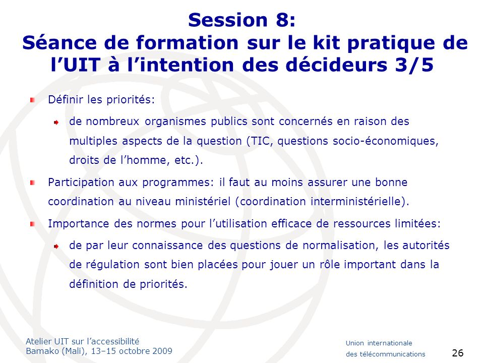 Session 8: Séance de formation sur le kit pratique de l'UIT à l'intention des décideurs 3/5