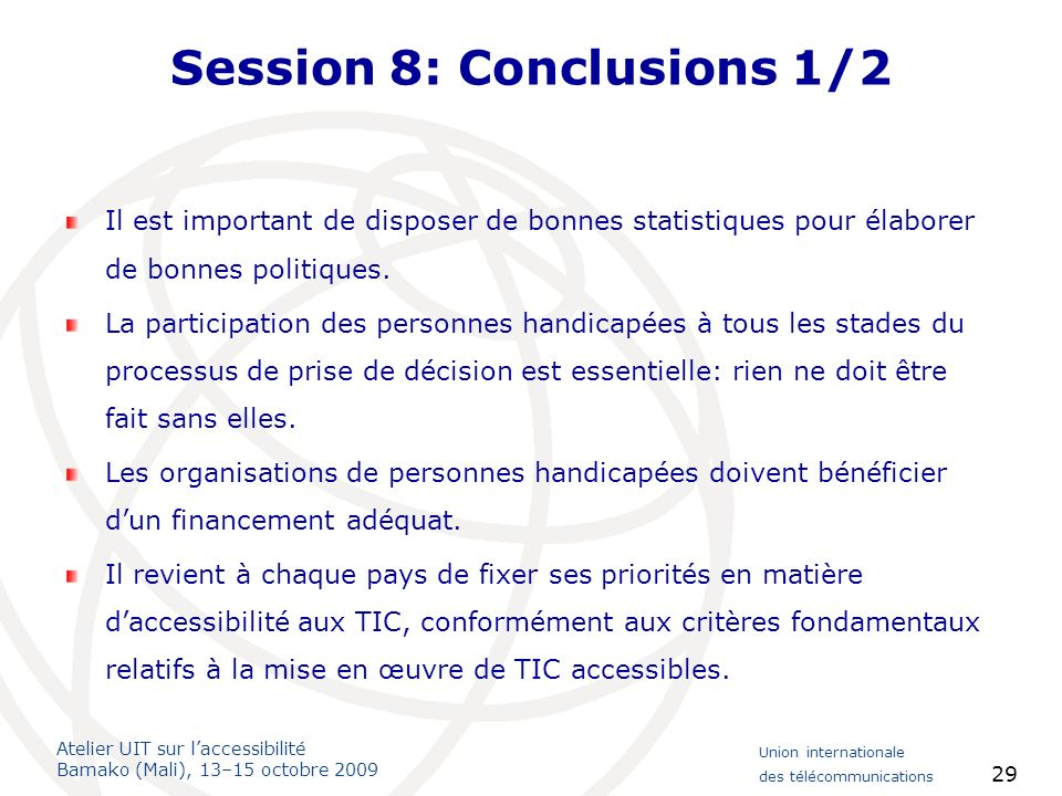 Session 8: Conclusions 1/2