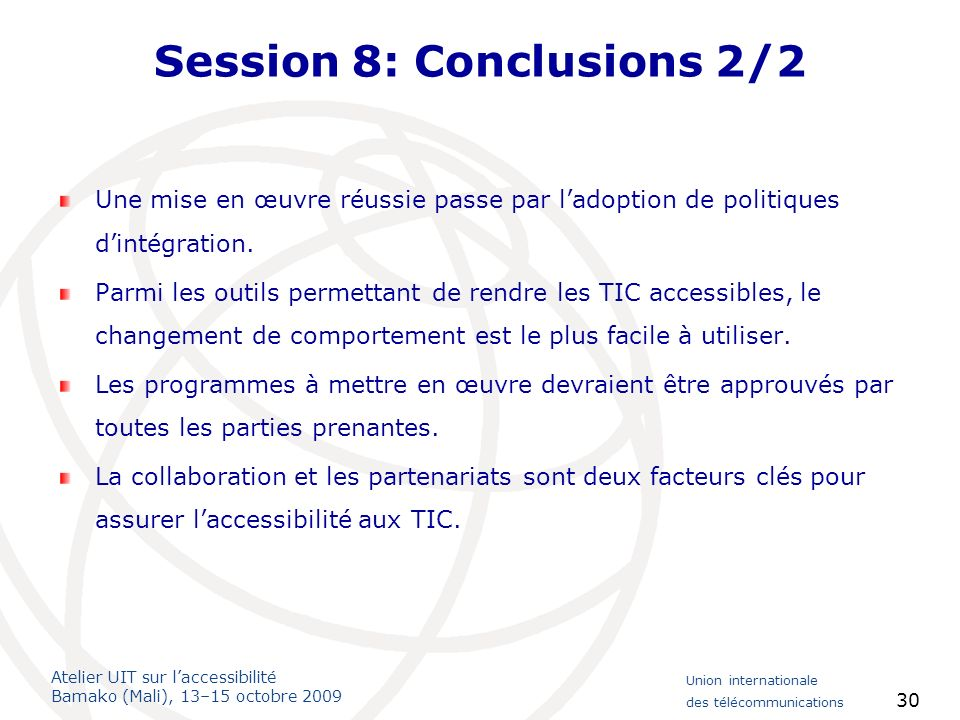 Session 8: Conclusions 2/2
