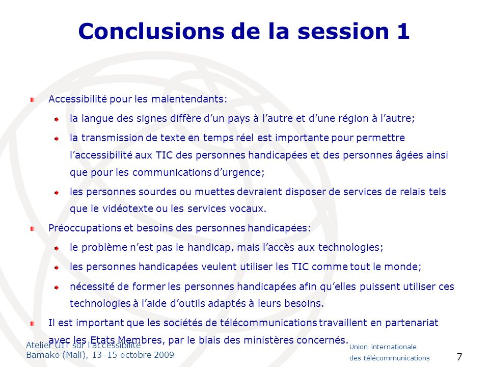 Conclusions de la session 1