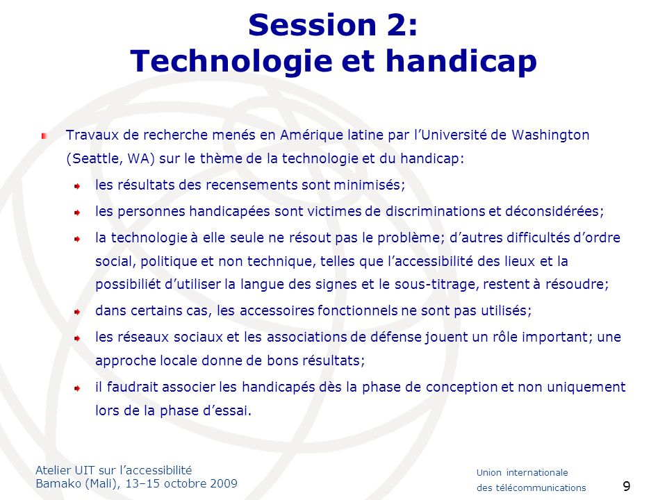 Session 2: Technologie et handicap