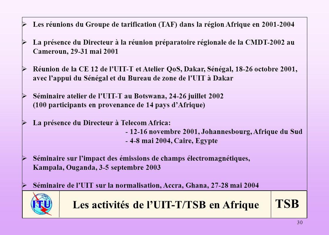 Les activités de l'UIT-T/TSB en Afrique