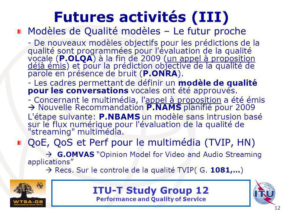 Futures activités (III)