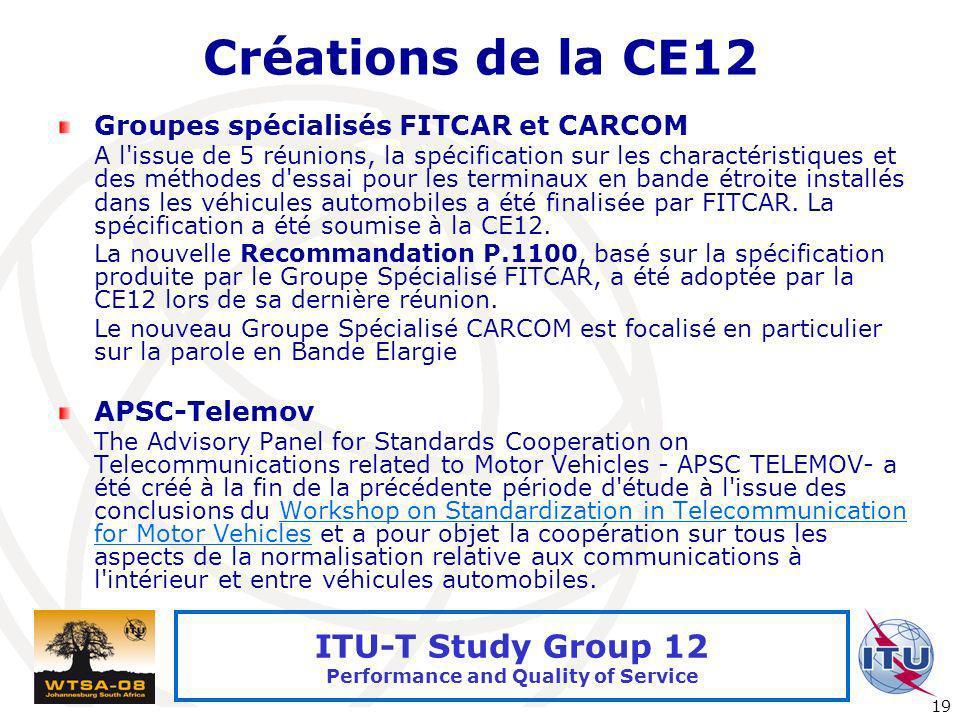 Créations de la CE12 Groupes spécialisés FITCAR et CARCOM APSC-Telemov