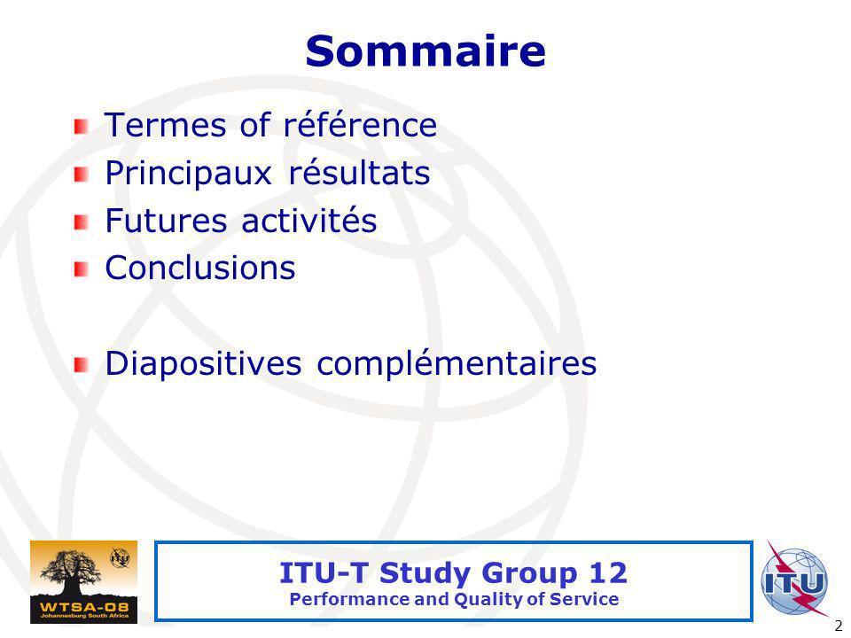Sommaire Termes of référence Principaux résultats Futures activités